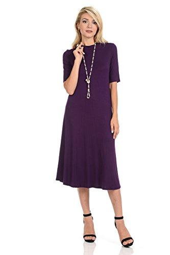 (iconic luxe Women's Mock Neck Trapeze Midi Dress Large Eggplant)