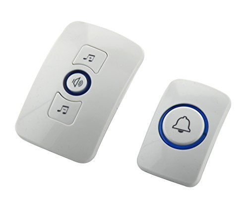 Neon® M525 Multifunctional Electronic Plug-in Remote Control Wireless Doorbell Welcome Security Alarm System with 32 Songs Optional 150m Operating Range (1 Receiver + 1 Transmitter)