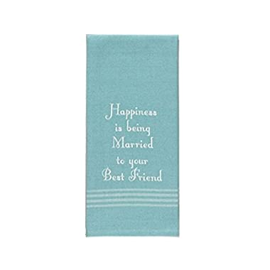 Lover's Kitchen Dish Towels in Sea Blue - Embroidered Cotton (Happiness Best Friend)