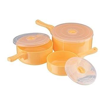 JX2 Prime Houseware - Juego de 3 ollas de cocina para microondas (incluye tapa transparente): Amazon.es: Hogar