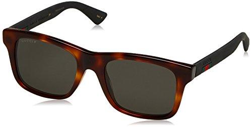 Gucci GG 0008S 006 Havana Plastic Square Sunglasses Grey Polarized - Square Frame Gucci Sunglasses Havana