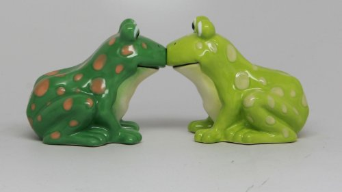 Frog Couple Ceramic Magnetic Salt and Pepper Shaker Set Home Kitchen (Frog Salt And Pepper Shakers)