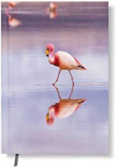 42thinx Notizbuch Flamingo Spiegelung Im Wasser DIN A5 kariert I Notizblock mit Hardcover 128 Seiten mit Designcover I Hochwertiges Journal Notebook mit Lesezeichen I Notizblock gebunden Motiv