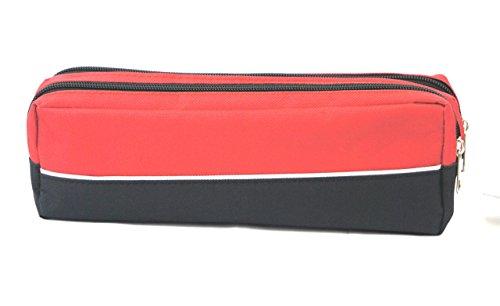 Große Stiftetasche mit Doppelreißverschluss Stoff Bleistift Fall für Büro Schule Stationäre, Studenten, Make-up-Tasche von Arpan 25 x 9 x 6 cm LIME GREEN- Pack of 1 RED- Pack of 1