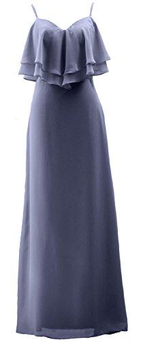 Dress Bridesmaid Chiffon Formal Blue Wedding Straps Spaghetti Steel Long Gown MACloth Party qpITn