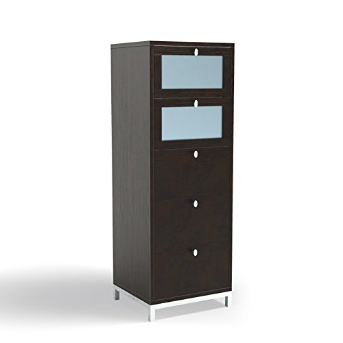 Finished 5 Drawer Chest - ioHOMES Keller 5-Drawer Chest with Tempered Glass, Cappuccino