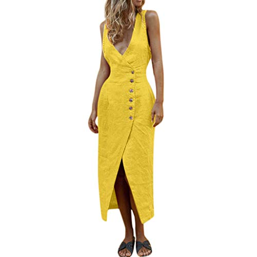 - Sanyyanlsy Women's Cotton Button Split Deep V-Neck Low-Out Sleeveless Solid Color Elegant Midi Dress Daily Work Style Yellow