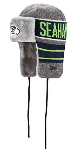 New Era Seattle Seahawks NFL Frosty Trapper Fur Lined Knit Hat