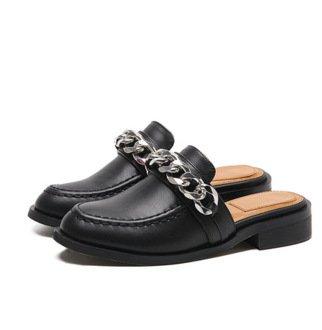 ZYUSHIZ Les gens paresseux Loisirs Loisirs Baotou Chaussures en cuir fond plat Sandales Sandales pantoufles,Black (Baotou faisant glisser), 37EU