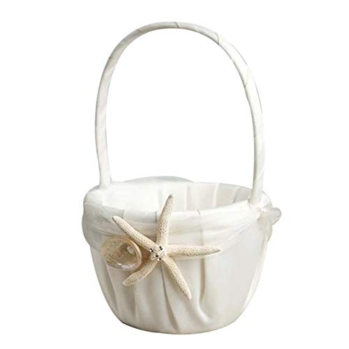 - BERTERI Beach Theme Flower Girl Basket White Satin Flower Basket with Sea Star and Seashell Design for Wedding Ceremony Party