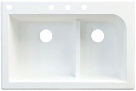 33 x 22 x 9 Transolid RTSS3322-17-CBDE Radius Granite 4-Hole Drop-In Single-Bowl Kitchen Sink Gray