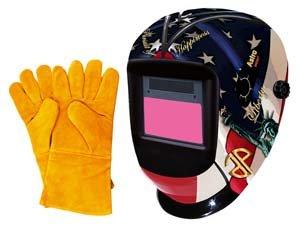 Astro Pneumatic Tool 8097SE Auto-Darkening LVA Welding Helmet with USA Theme