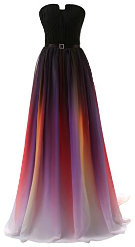 Eudolah New Gradient Colorful Sexy Ombre Chiffon Prom Dress Evening Dresses Purple White Size 24