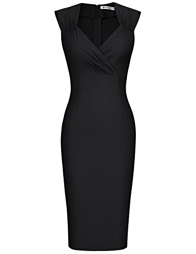 MUXXN Women's Vintage Style Knee Length Wedding Guest Dress (XL Black)