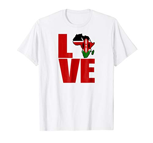 Kenyan pride I love Kenya flag map Africa t-shirt (Africa T-shirt Map)
