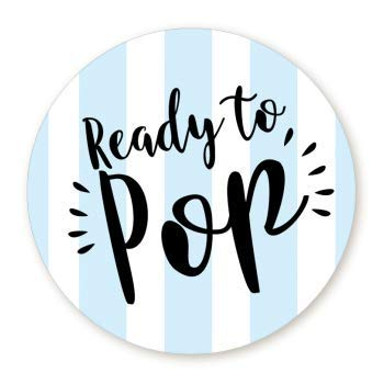 Stripe Ready to Pop Stickers | 48 Stickers | Ready To Pop Baby Shower Stickers for Popcorn | 1.67 Inches | Ready to Pop Stickers for Boy and Girl (Blue)