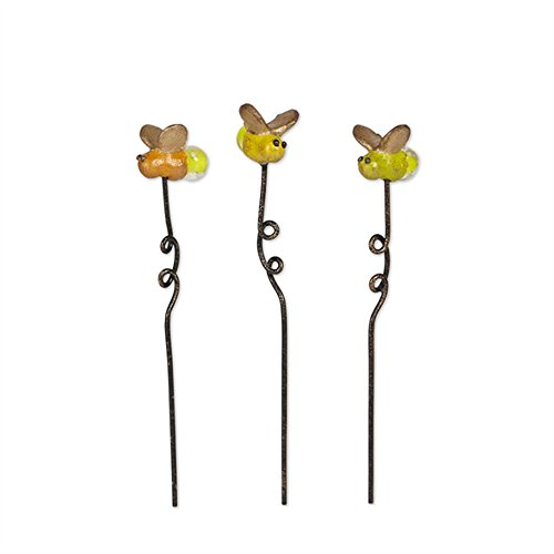 Genevieve Gail Collectible Fairy Garden Set of Three Glowing 1 Inch Mini Firefly - Accessory Genevieve