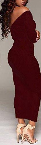 Vestito Fuori Collo Clubwear Partito Donne V Slim Midi Fit Spalla Marrone Blansdi Sexy Bodycon wqfAp0