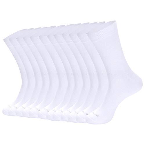 Men's Solid Dress Socks Cotton White Men 12 Pack Trouser Thin Classic Socks Size:6-8 Classic Cotton Crew Socks