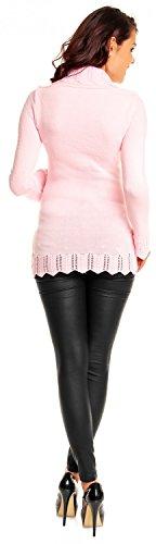 Zeta Ville Premamá - Jersey de punto cuello bolero crochet - para mujer 402c Polvo de Color Rosa