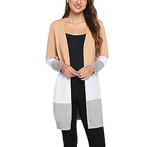 Gilet Femme Tricot Veste Longue Femme Cardigan Long Manches Longues Casual Ouvert Hiver Automne Printemps Vintage