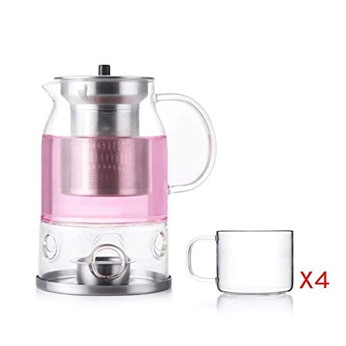 (High Temperature Resistance ZS Heat Resistant Glass Flower Pot Candle Candlestick Heating Stainless Steel Full Filter Liner Tea Set Teapot 600ml (teapot +4 Cups) Tea Candle)