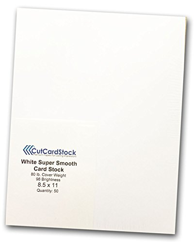 Premium White 80lb Super Smooth 8 1/2 x 11 Discount Card Stock (50) (Matte Finish Vs Glossy Finish Business Cards)
