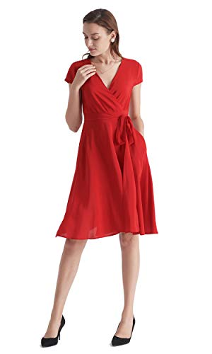 LilySilk Silk Wrap Dress for Women V Neck with Belt Pockets Figure Flattering Tunic Ladies Cardinal XXL/18-20