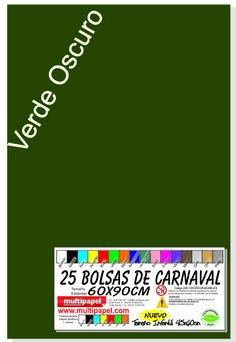 Bolsa Plastico Disfraz Carnaval Paquete 25 Bolsas 60x90cm. (Verde Oscuro)