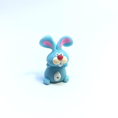 Rabbit Blue (Stand) Handmade Japan Clay Collectible Dollhouse Miniature Farm Animal - Blue Catalogue Studio