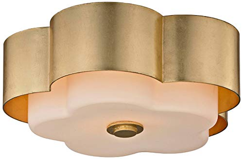 - Troy Lighting C5651 Allure 2-Light Celling Flush Mount - Gold Leaf - Opal White Glass Shade,