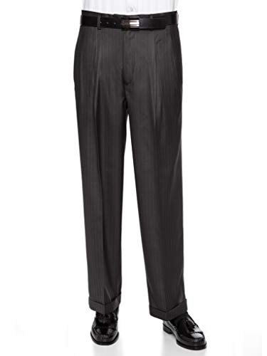 GIOVANNI UOMO Mens Pleated Front Pin Striped Dress Pants 38ShortCharcoal ()