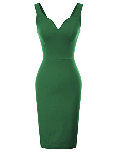 GRACE KARIN Women's Elegant V Neck Sleeveless Party Dress Size S Green