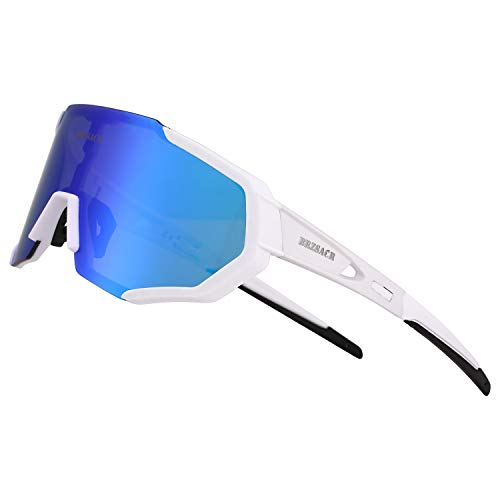 Polarized Sports Sunglasses with Interchangeable Lenes for Men Women Cycling Running Driving Fishing Golf Baseball Glasses (new bule)