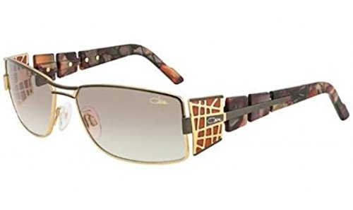Cazal 9020-003 Rectangle Sunglasses,Amber & Gold Frame/Brown Gradient Lens,58 - Gold Sunglasses Cazal