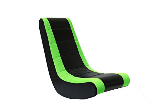 The Crew Furniture 991590 Classic Video Rocker Black/Neon Green Mesh Racing Stripe
