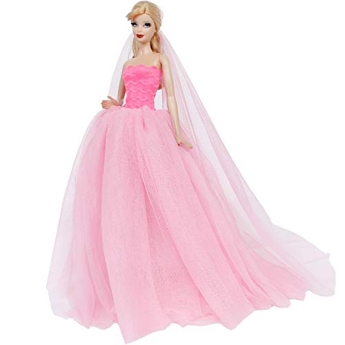 BJDBUS Strapless Elastic Top Wedding Dress with Veil Evening Party Gown Princess Clothes for 11.5 Inch Girl Doll (Pink)