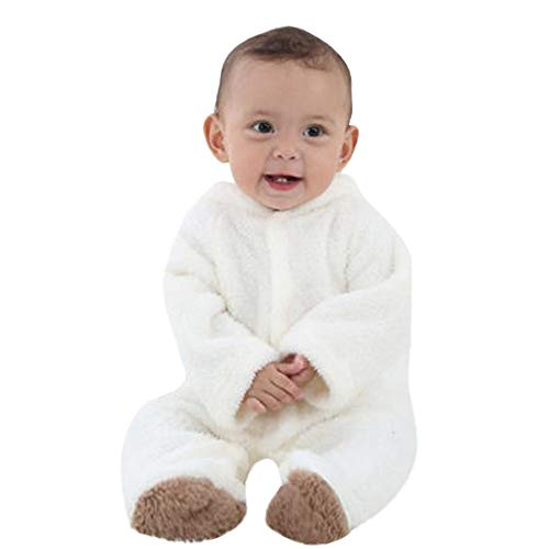 VEKDONE Fleece Baby Bunting Onesie Jacket - Infant Pajamas Winter Outerwear Coat Costume White