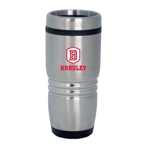 Bradley Rolling Ridges Silver Stainless Tumbler 16oz 'Official Logo' by CollegeFanGear