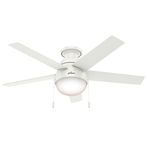 Hunter Indoor Low Profile Ceiling Fan with light and pull chain control – Anslee 46 inch, White, 59269