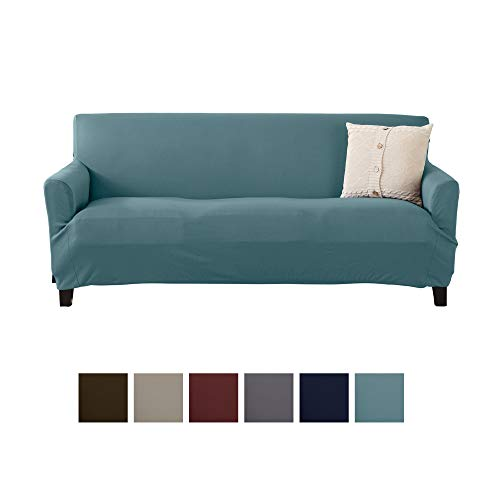 Home Fashion Designs Solid Twill Sofa Slipcover. One Piece Stretch Couch Cover. Strapless Arm Sofa Cover for Living Room. Brenna Collection Slipcover. (Sofa, Smoke Blue - Solid)