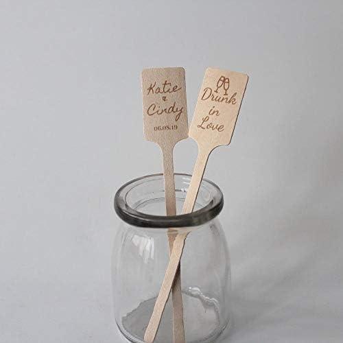 BGPOM Kaffeelöffel 100Pcs Holz Rechteck Cocktail Rührer für Hochzeitsempfang Kaffeerührer Bar