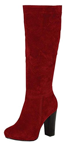 Refresh Women's Ringo-03 Knee High Side Zipper Closure Chunky High Heel Dress Boots,7 B(M) US,Red (Red Women Boots)