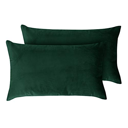 Deconovo 12x20 Inch Oblong Emerald Vevet Throw Cushion Covers for Chair Sofa Set of 2