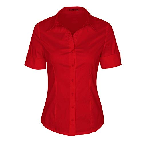 Ladies L/s Stretch Shirt - SUNNOW Womens Tailored Short Sleeve Basic Simple Button-Down Shirt with Stretch (S, Red)