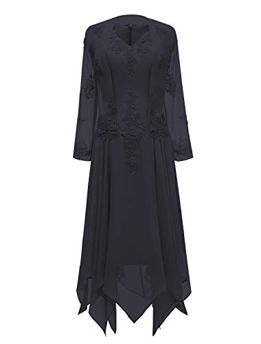 tutu.vivi V-Neck Chiffon Tea Length Mother of The Bride Dress Long Sleeves Lace Formal Evening Gowns with Jacket Navy Blue Size16