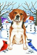 Beagle – by Tomoyo Pitcher, Winter Themed Dog Breed Flags 12 x 18