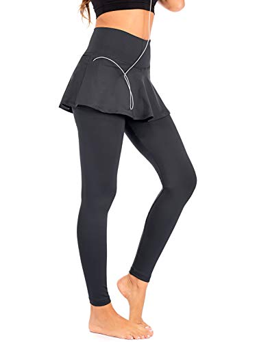 DEAR SPARKLE Skirted Leggings for Women | Yoga Tennis Golf Pants with Skirt Pockets + Plus Size (S9) (Dark Grey, Small)