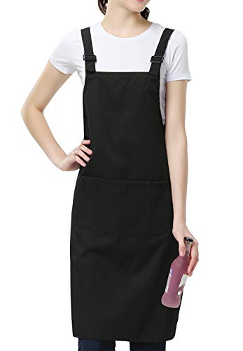 TOCONFFON Adjustable Bib Aprons Kitchen H Back Apron with 3 Pockets for Women Men Chef(Black,23.6x31.5in)