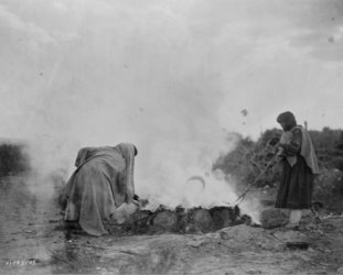1905 photo Pottery burners at Santa Clara graphic. photograph shows two women, probably Tewa, tending a fire pit, Santa Clara Pueblo, New Mexico. 8x10 Photograph - Ready to Frame